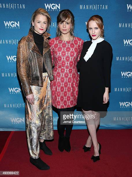 Actors Mamie Gummer Katja Herbers and Rachel Brosnahan attend the 11th Annual New York Television Festival screening of Manhattan Season Two at the...