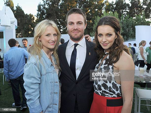 Actors Mamie Gummer Stephen Amell and Katie Cassidy attend the CW CBS and Showtime 2012 Summer TCA party held at The Beverly Hilton Hotel on July 29...