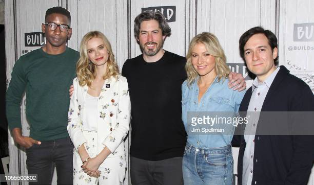 Actors Mamoudou Athie Sara Paxton director Jason Reitman actors Ari Graynor and Josh Brener attend the Build Series to discuss The Front Runner at...