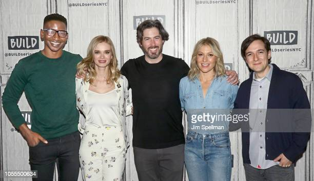 Actors Mamoudou Athie Sara Paxton director Jason Reitman actors Ari Graynor and Josh Brener attend the Build Series to discuss 'The Front Runner' at...