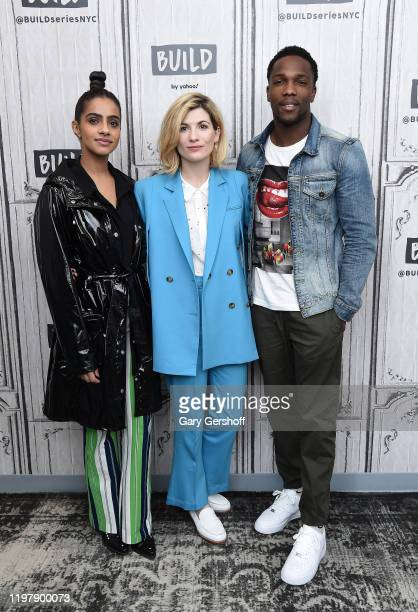 "Actors Mandip Gill, Jodie Whittaker and Tosin Cole visit the Build Series to discuss Season 12 of the BBC America series ""Doctor Who"" at Build Studio..."