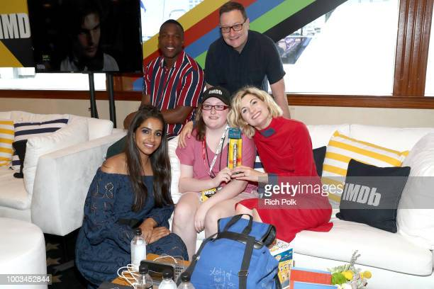 Actors Mandip Gill Tosin Cole MakeAWish Foundation recipient writer Chris Chibnall and actor Jodie Whittaker attend the #IMDboat At San Diego...