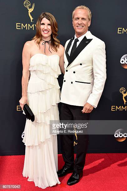 Actors Mandy Fabian and Patrick Fabian attend the 68th Annual Primetime Emmy Awards at Microsoft Theater on September 18 2016 in Los Angeles...