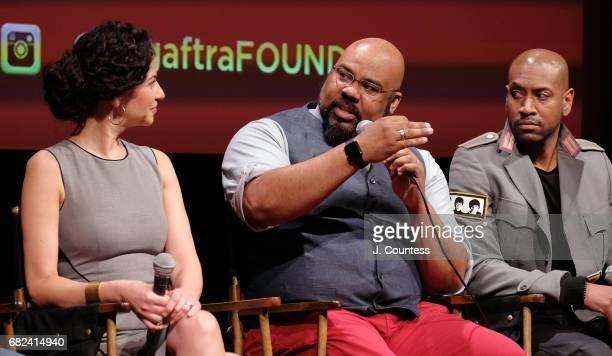Actors Mandy Gonzalez James Monroe Iglehart and Brandon Victor Dixon onstage during the SAGAFTRA Foundation Conversations On Broadway Hamilton at...