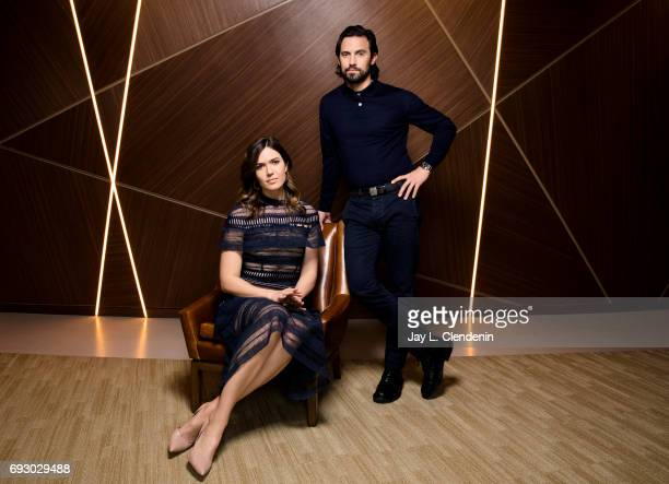 Actors Mandy Moore and Milo Ventimiglia from NBC's 'This Is Us' are photographed for Los Angeles Times on March 29 2017 in Los Angeles California...