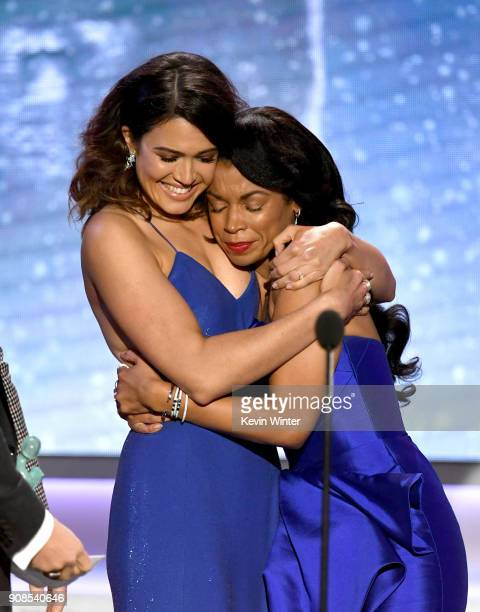 Actors Mandy Moore and Susan Kelechi Watson accept the Outstanding Performance by an Ensemble in a Drama Series award for 'This Is Us' onstage during...