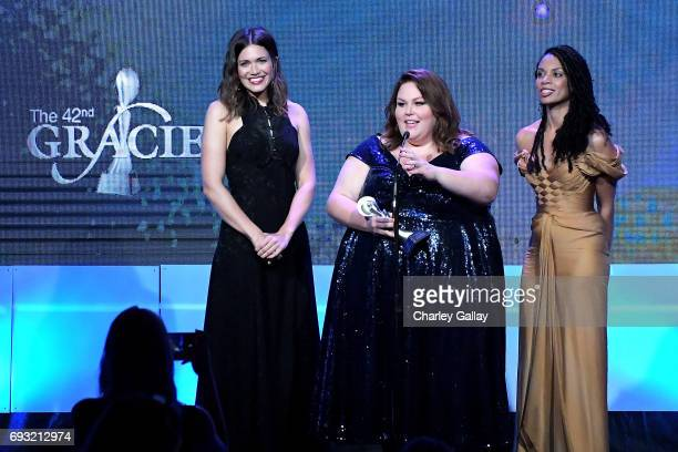 Actors Mandy Moore Chrissy Metz and Susan Kelechi Watson accept an award onstage during the 42nd Annual Gracie Awards hosted by The Alliance for...