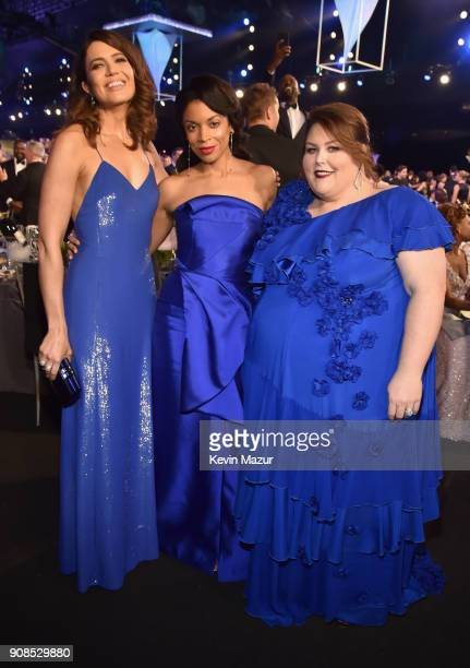 Actors Mandy Moore Susan Kelechi Watson and Chrissy Metz pose during the 24th Annual Screen Actors Guild Awards at The Shrine Auditorium on January...