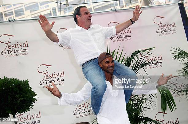 Actors Mandy Patinkin and Shemar Moore attend a photocall promoting the television serie 'Criminal Minds' on the third day of the 2007 Monte Carlo...