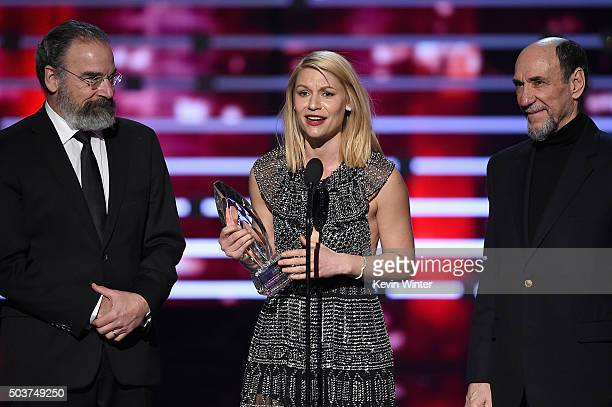 Actors Mandy Patinkin Claire Danes and F Murray Abraham accept Favorite Premium Cable TV Show for 'Homeland' onstage during the People's Choice...