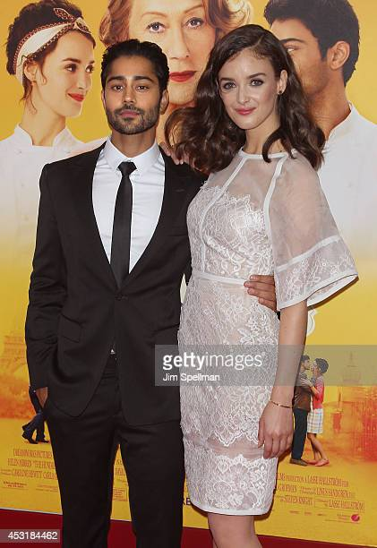 Actors Manish Dayal and Charlotte Le Bon attend the 'The HundredFoot Journey' New York Premiere at Ziegfeld Theater on August 4 2014 in New York City
