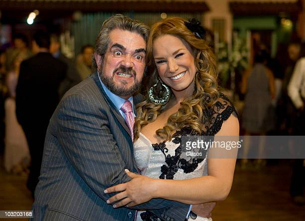 Actors Manuel Ibanez and Liz Vega pose during the shooting of the last chapter of Zacatillo soap opera on July 23 2010 in Mexico City Mexico