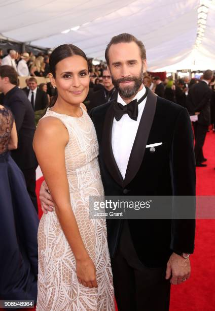 Actors María Dolores Dieguez and Joseph Fiennes attend the 24th Annual Screen Actors Guild Awards at The Shrine Auditorium on January 21 2018 in Los...