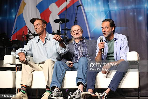 Actors Marc Alaimo Andrew Robinson and Alexander Siddig speak during the 'Star Trek Deep Space Nine Life' panel at the 14th annual official Star Trek...
