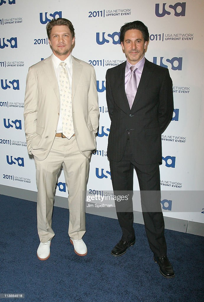 Actors Marc Blucas and Scott Cohen attend the 2011 USA Upfront at The Tent at Lincoln Center on May 2, 2011 in New York City.