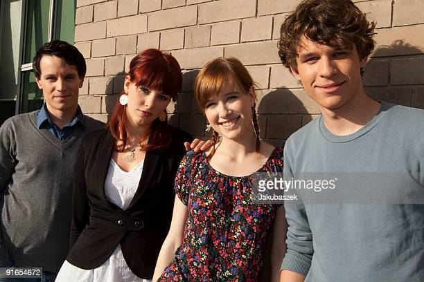 Actors Marc Dumitru Alicia Endemann and Kristina Schmidt and Florian Prokop of the Teenager Soap 'Das Haus Anubis' pose after the VIVA television...