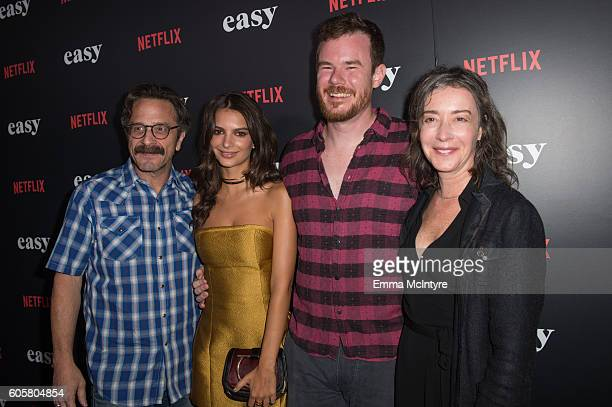 Actors Marc Maron Emily Ratajkowski director Joe Swanberg and actress Jane Adams attend the premiere of Netflix's 'Easy' at The London Hotel on...