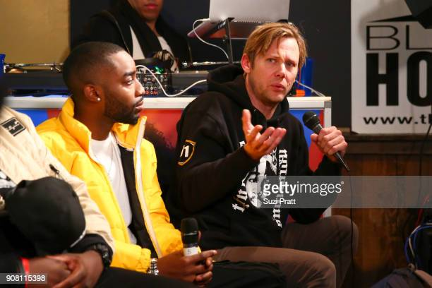 Actors Marcc Rose and Jimmi Simpson speak onstage during the '20 Years Still Unsolved' Panel presented by USA Network UNSOLVED THE MURDERS OF TUPAC...