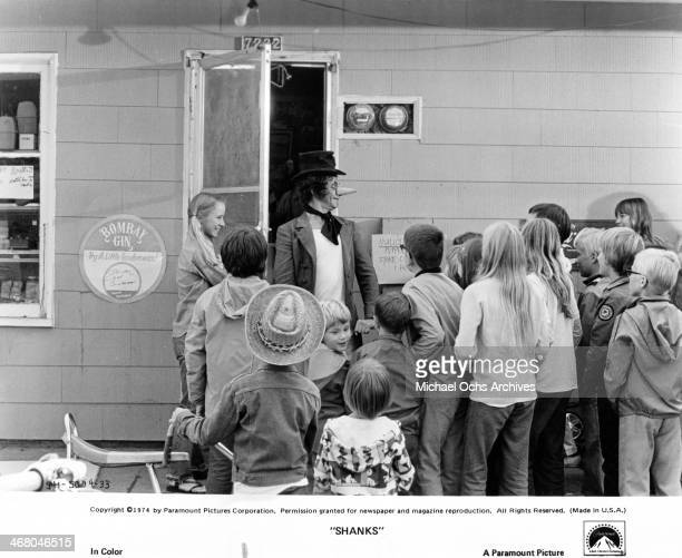 "Actors Marcel Marceau on set of the movie ""Shanks"" , circa 1974."