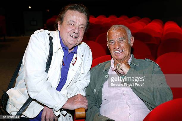 Actors Marcel Marechal and JeanPaul Belmondo attend 'Le Cavalier seul' Theater Play at Theatre 14 on June 26 2014 in Paris France
