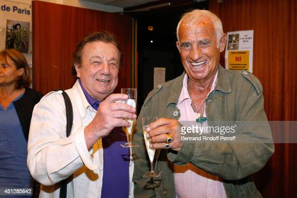 Actors Marcel Marechal and JeanPaul Belmondo backstage after 'Le Cavalier seul' Theater Play at Theatre 14 on June 26 2014 in Paris France