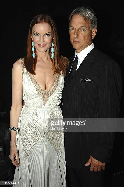 Actors Marcia Cross and Mark Harmon during the 59th Annual Primetime EMMY Awards at the Shrine Auditorium on September 16 2007 in New York City...