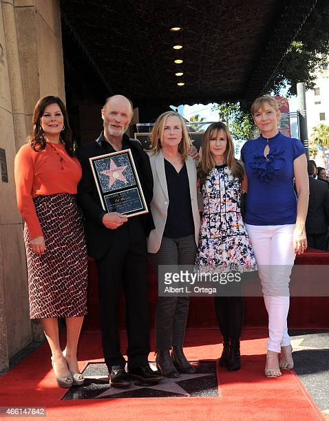 Actors Marcia Gay Harden Ed Harris Amy Madigan Holly Hunter and Glenne Headly at the Ed Harris Star ceremony held on the Hollywood Walk Of Fame on...