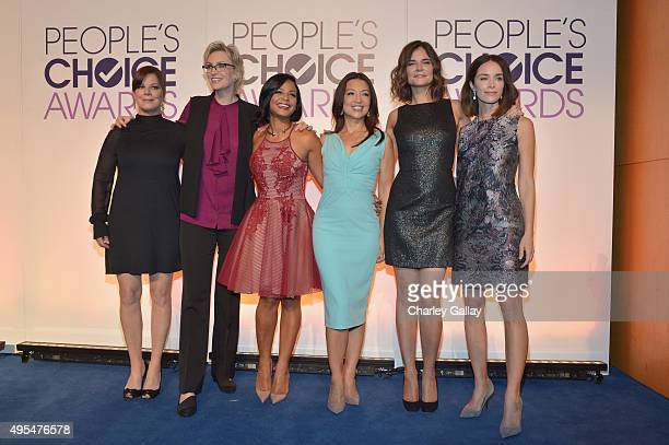 Actors Marcia Gay Harden Jane Lynch Christina Milian MingNa Wen Betsy Brandt and Abigail Spencer attend the People's Choice Awards 2016 nominations...