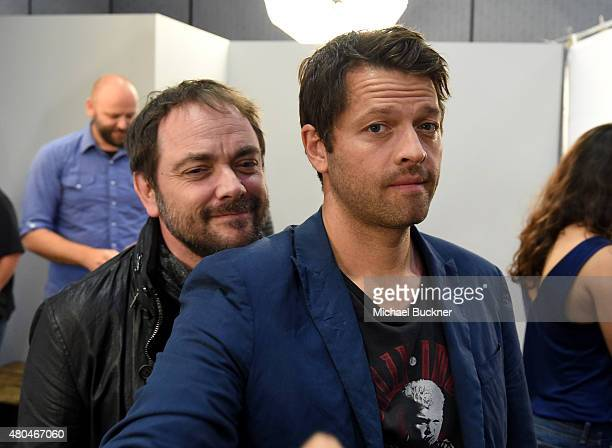 Actors Marck Sheppard and Misha Collins attend the Getty Images Portrait Studio Powered By Samsung Galaxy At ComicCon International 2015 at Hard Rock...