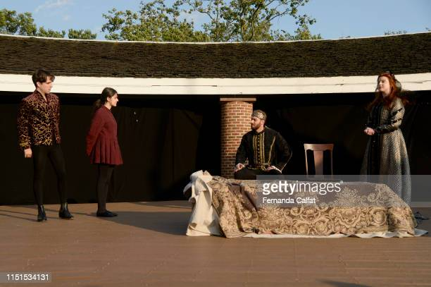 Actors Marco Villard and Marie Calfat Nascimento on stage at Shakespeare Downtown Presents Hamlet at Castle Clinton National Monument Battery Park on...