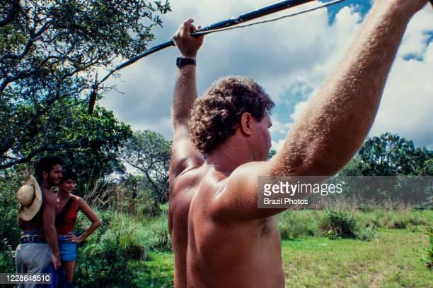 Actors Marcos Palmeira and Luciene Adami during recordings of Pantanal, Brazilian telenovela TV serial drama , soap opera - originally aired in 1990...