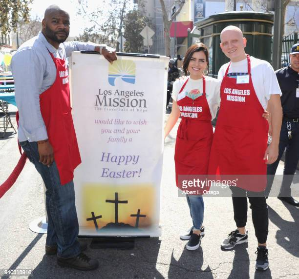 Actors Marcuis Harris Betsy Landin and Anthony Carrigan attend the Los Angeles Mission Easter Charity Event held at Los Angeles Mission on March 30...