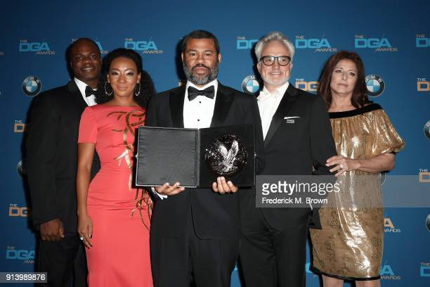 Actors Marcus Henderson and Betty Gabriel, director Jordan Peele, recipient of the Nomination Medallion for Outstanding Directorial Achievement in...