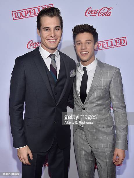 Actors Marcus Johns and Cameron Dallas attend the premiere of Awesomeness TV's EXPELLED at Westwood Village Theatre on December 10 2014 in Westwood...