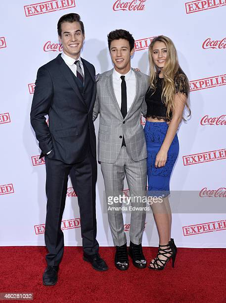 Actors Marcus Johns Cameron Dallas and Lia Marie Johnson arrive at the premiere of AwesomenessTV's Expelled at Westwood Village Theatre on December...