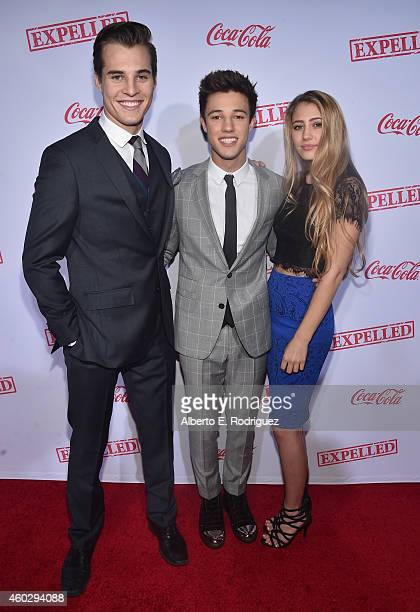 Actors Marcus Johns Cameron Dallas and Lia Marie Johnson attend the premiere of Awesomeness TV's EXPELLED at Westwood Village Theatre on December 10...
