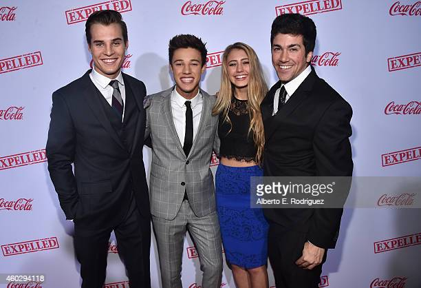 Actors Marcus Johns Cameron Dallas Lia Marie Johnson and director Alex Goyette attend the premiere of Awesomeness TV's EXPELLED at Westwood Village...
