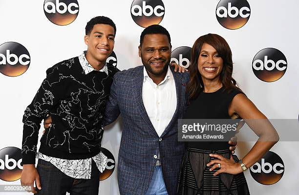 Actors Marcus Scribner and Anthony Anderson and ABC Entertainment President Channing Dungey attend the Disney ABC Television Group TCA Summer Press...