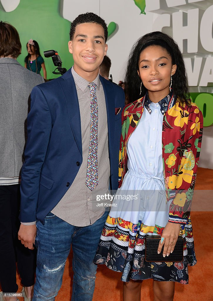 Actors Marcus Scribner (L) and Yara Shahidi attend Nickelodeon's 2016 Kids' Choice Awards at The Forum on March 12, 2016 in Inglewood, California.