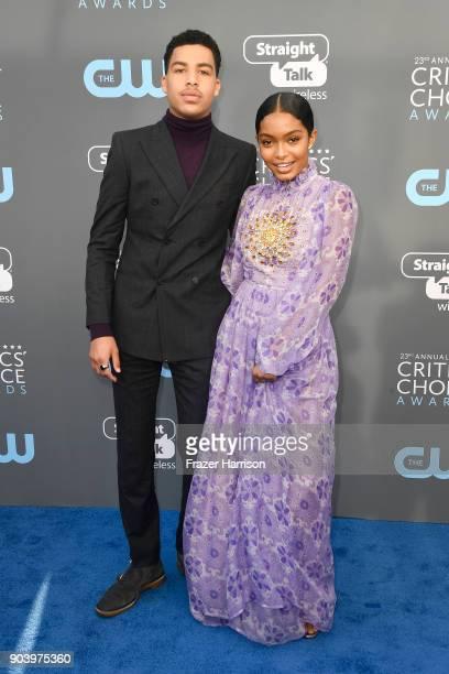 Actors Marcus Scribner and Yara Shahidi attend The 23rd Annual Critics' Choice Awards at Barker Hangar on January 11 2018 in Santa Monica California