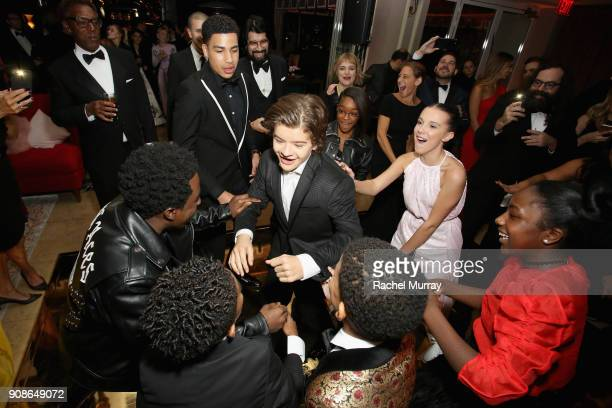 Actors Marcus Scribner Gaten Matarazzo Marsai Martin and Millie Bobby Brown attend Netflix Hosts The SAG After Party At The Sunset Tower Hotel on...