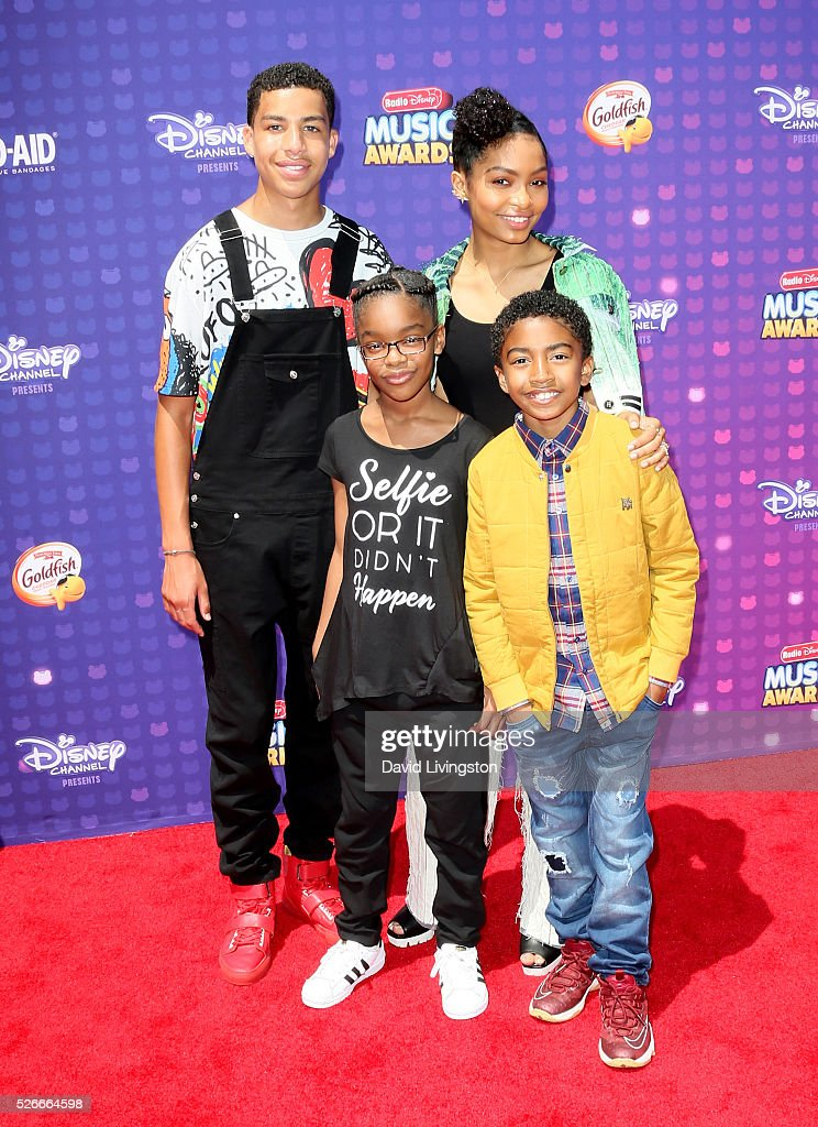 Actors Marcus Scribner, Marsai Martin, Yara Shahidi, and Miles Brown attend the 2016 Radio Disney Music Awards at Microsoft Theater on April 30, 2016 in Los Angeles, California.