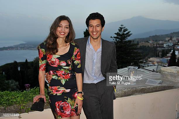 Actors Margaret Made and Francesco Scianna attends a party at the Lancia Cafe on June 18 2010 in Taormina Italy