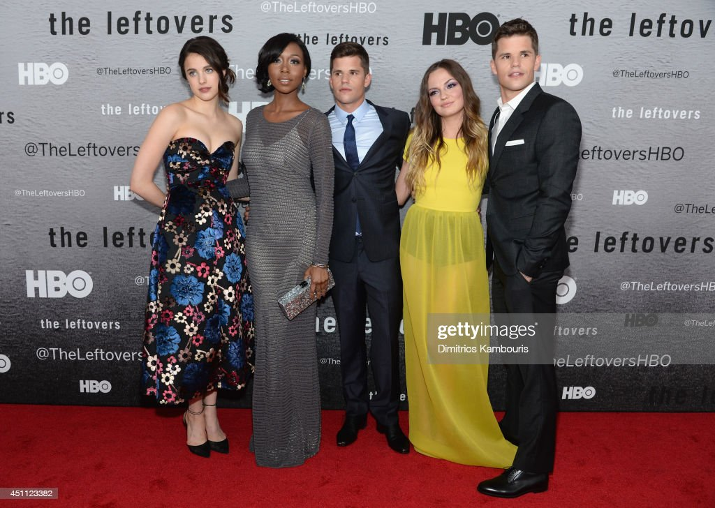 Actors Margaret Qualley, Amanda Warren, Charlie Carver, Emily Meade and Max Carver attend 'The Leftovers' premiere at NYU Skirball Center on June 23, 2014 in New York City.