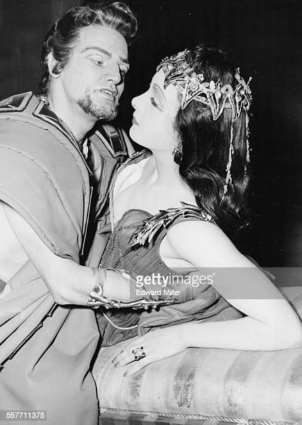 Actors Margaret Whiting and Keith Michell embracing during dress rehearsals for the play 'Antony and Cleopatra' at the Old Vic Theatre London March...