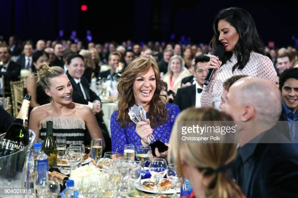 Actors Margot Robbie Allison Janney and host Olivia Munn attend The 23rd Annual Critics' Choice Awards at Barker Hangar on January 11 2018 in Santa...