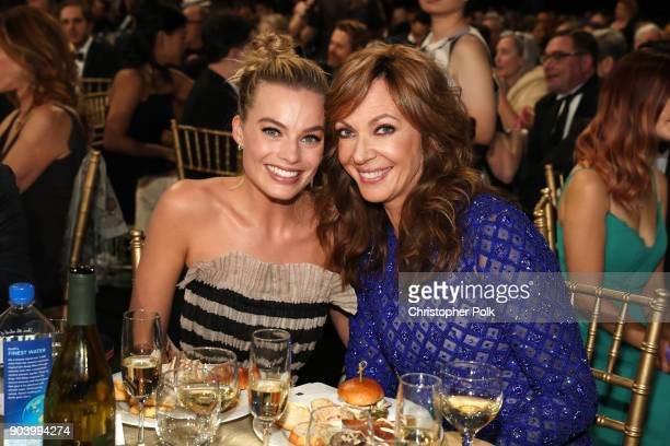 Actors Margot Robbie and Allison Janney attend The 23rd Annual Critics' Choice Awards at Barker Hangar on January 11 2018 in Santa Monica California
