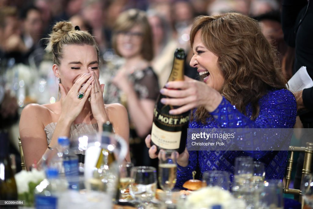 Actors Margot Robbie and Allison Janney attend The 23rd Annual Critics' Choice Awards at Barker Hangar on January 11, 2018 in Santa Monica, California.