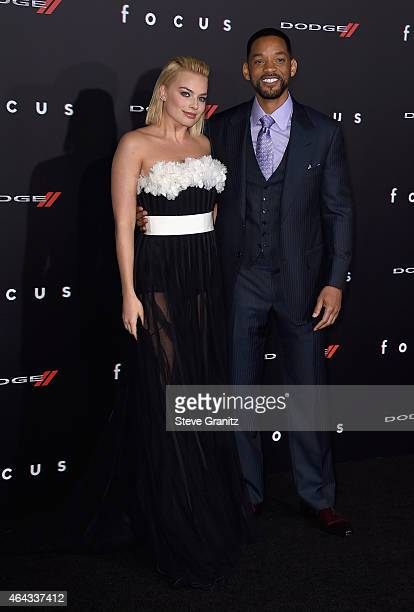 """Actors Margot Robbie and Will Smith attend the Warner Bros. Pictures' """"Focus"""" premiere at TCL Chinese Theatre on February 24, 2015 in Hollywood,..."""
