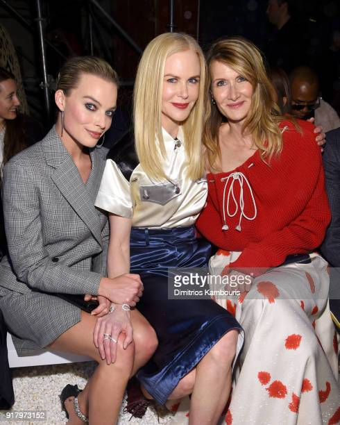 Actors Margot Robbie Nicole Kidman and Laura Dern attend the Calvin Klein Collection front row during New York Fashion Week at New York Stock...